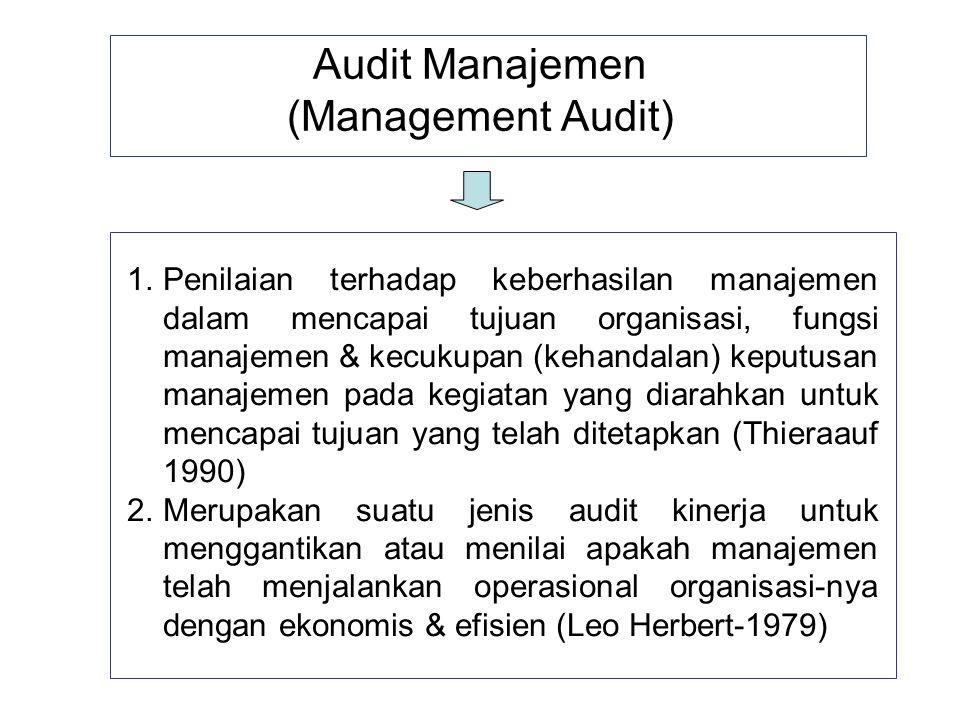 Audit Manajemen (Management Audit) 1.Penilaian terhadap keberhasilan manajemen dalam mencapai tujuan organisasi, fungsi manajemen & kecukupan (kehanda