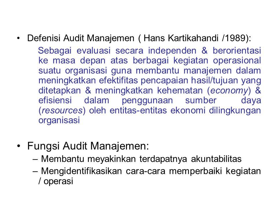 Defenisi Audit Manajemen ( Hans Kartikahandi /1989): Sebagai evaluasi secara independen & berorientasi ke masa depan atas berbagai kegiatan operasiona
