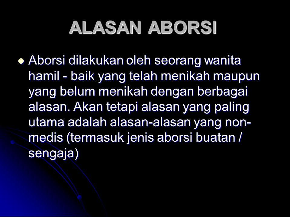 ALASAN ABORSI ALASAN ABORSI Aborsi dilakukan oleh seorang wanita hamil - baik yang telah menikah maupun yang belum menikah dengan berbagai alasan.
