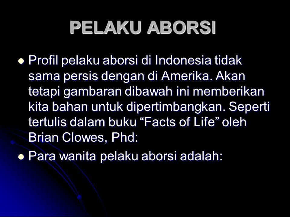 PELAKU ABORSI PELAKU ABORSI Profil pelaku aborsi di Indonesia tidak sama persis dengan di Amerika.
