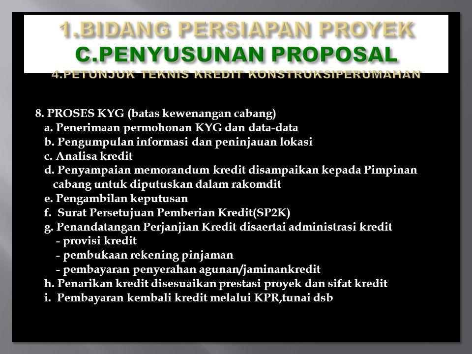 8. PROSES KYG (batas kewenangan cabang) a. Penerimaan permohonan KYG dan data-data b. Pengumpulan informasi dan peninjauan lokasi c. Analisa kredit d.