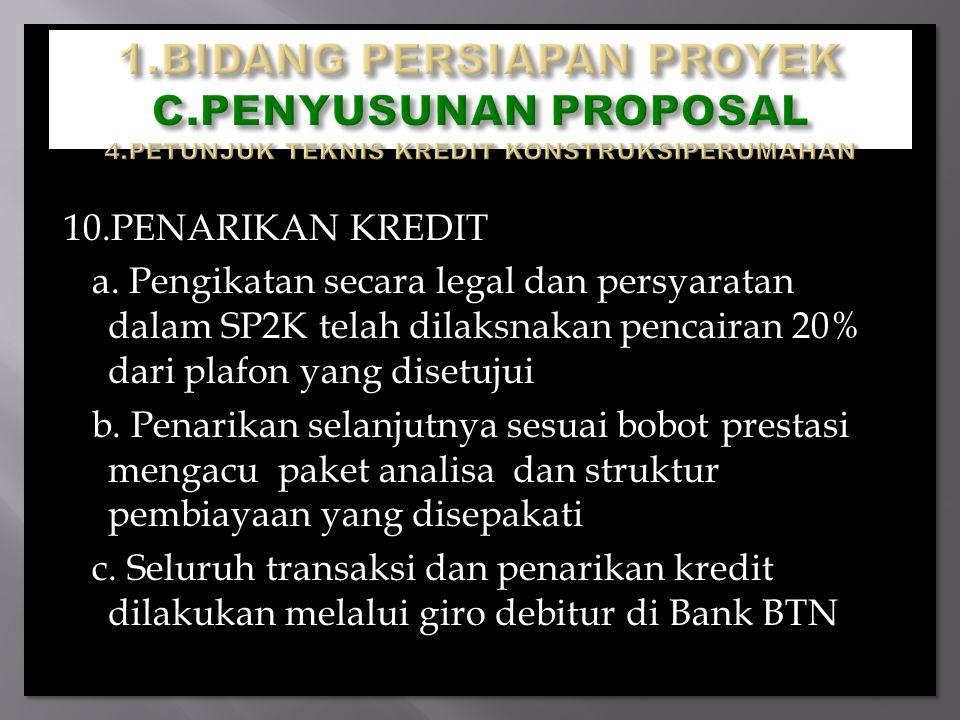10.PENARIKAN KREDIT a. Pengikatan secara legal dan persyaratan dalam SP2K telah dilaksnakan pencairan 20% dari plafon yang disetujui b. Penarikan sela