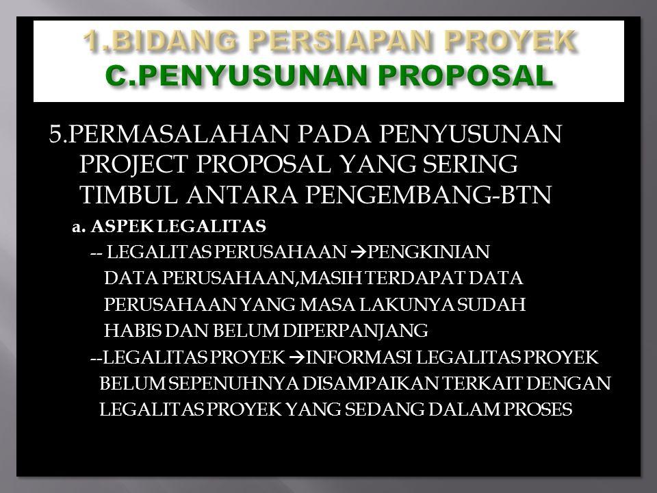 5.PERMASALAHAN PADA PENYUSUNAN PROJECT PROPOSAL YANG SERING TIMBUL ANTARA PENGEMBANG-BTN a. ASPEK LEGALITAS -- LEGALITAS PERUSAHAAN  PENGKINIAN DATA
