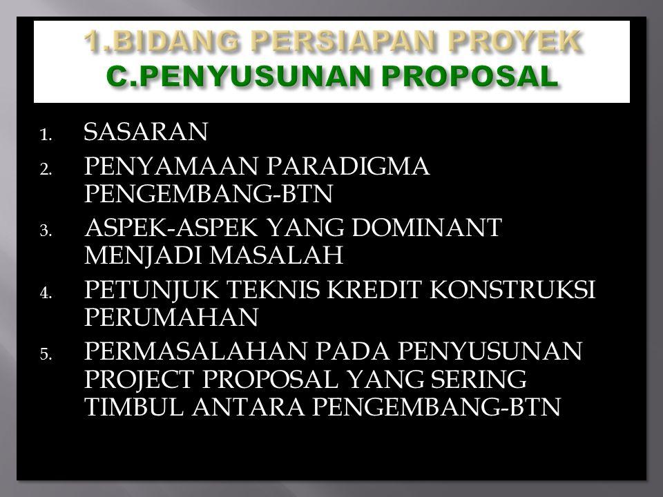 1. SASARAN 2. PENYAMAAN PARADIGMA PENGEMBANG-BTN 3. ASPEK-ASPEK YANG DOMINANT MENJADI MASALAH 4. PETUNJUK TEKNIS KREDIT KONSTRUKSI PERUMAHAN 5. PERMAS