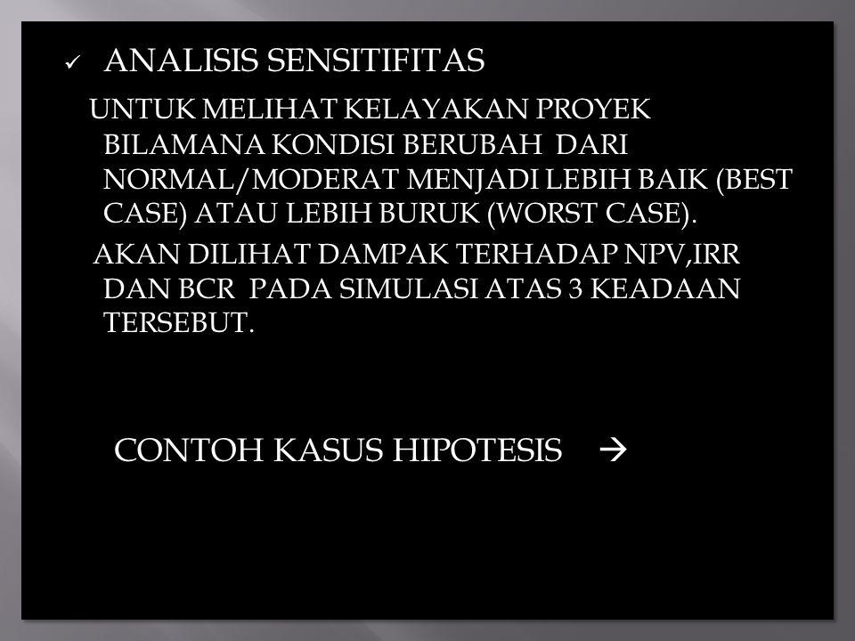 ANALISIS SENSITIFITAS UNTUK MELIHAT KELAYAKAN PROYEK BILAMANA KONDISI BERUBAH DARI NORMAL/MODERAT MENJADI LEBIH BAIK (BEST CASE) ATAU LEBIH BURUK (WOR
