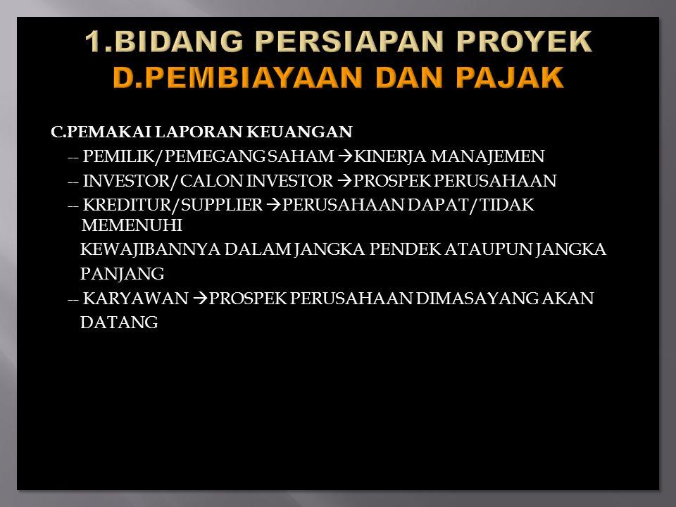 C.PEMAKAI LAPORAN KEUANGAN -- PEMILIK/PEMEGANG SAHAM  KINERJA MANAJEMEN -- INVESTOR/CALON INVESTOR  PROSPEK PERUSAHAAN -- KREDITUR/SUPPLIER  PERUSAHAAN DAPAT/TIDAK MEMENUHI KEWAJIBANNYA DALAM JANGKA PENDEK ATAUPUN JANGKA PANJANG -- KARYAWAN  PROSPEK PERUSAHAAN DIMASAYANG AKAN DATANG