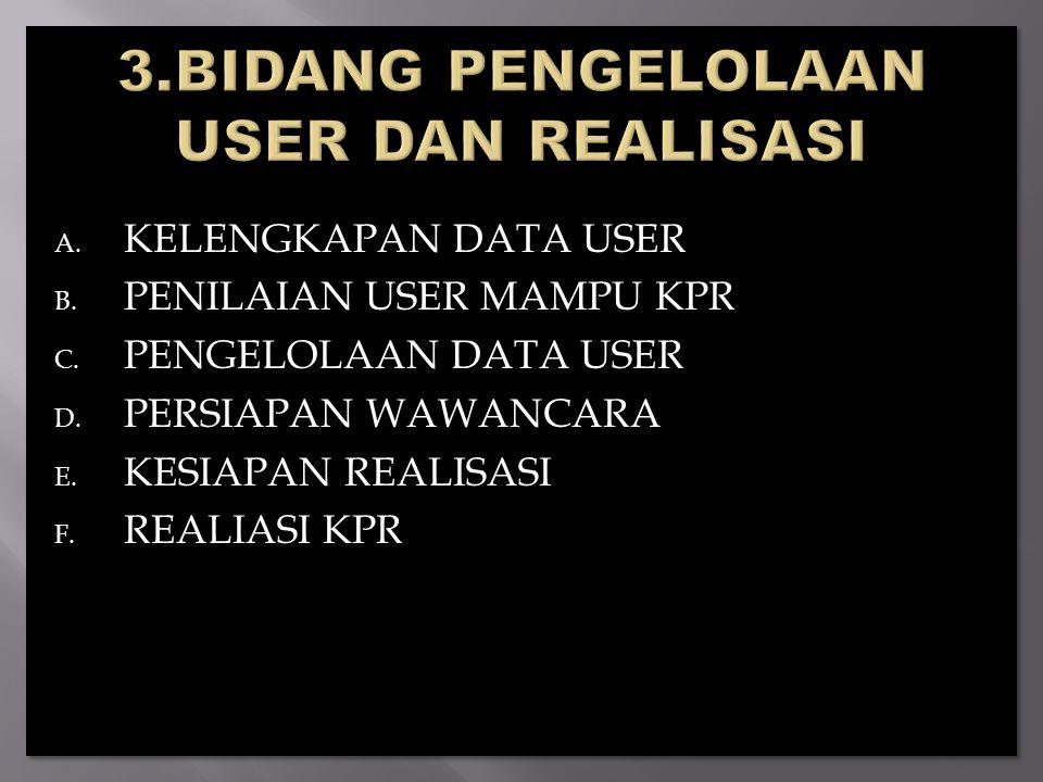 A.KELENGKAPAN DATA USER B. PENILAIAN USER MAMPU KPR C.