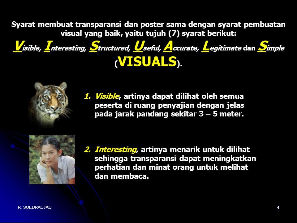 R. SOEDRADJAD4 Syarat membuat transparansi dan poster sama dengan syarat pembuatan visual yang baik, yaitu tujuh (7) syarat berikut: V isible, I ntere