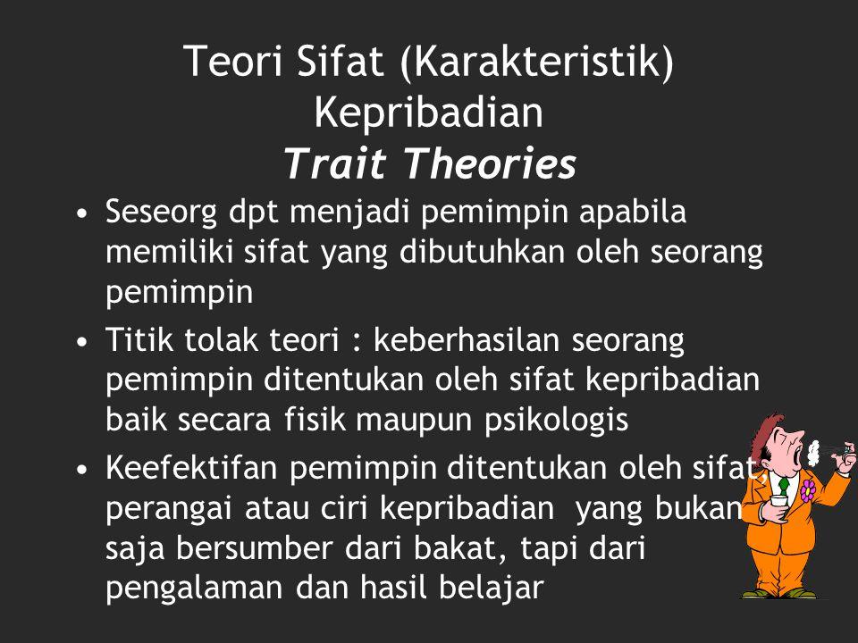 Teori Sifat (Karakteristik) Kepribadian Trait Theories Seseorg dpt menjadi pemimpin apabila memiliki sifat yang dibutuhkan oleh seorang pemimpin Titik