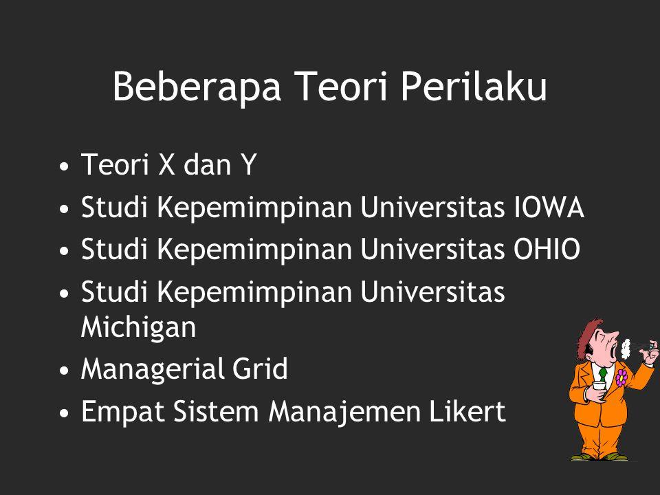Beberapa Teori Perilaku Teori X dan Y Studi Kepemimpinan Universitas IOWA Studi Kepemimpinan Universitas OHIO Studi Kepemimpinan Universitas Michigan
