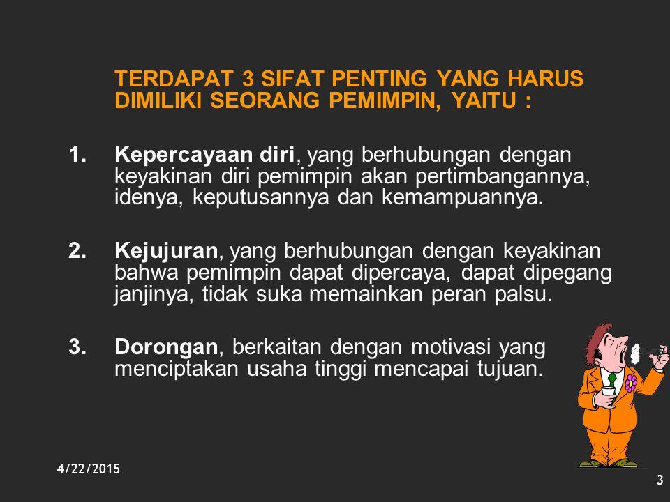 4/22/2015 3 TERDAPAT 3 SIFAT PENTING YANG HARUS DIMILIKI SEORANG PEMIMPIN, YAITU : 1.Kepercayaan diri, yang berhubungan dengan keyakinan diri pemimpin