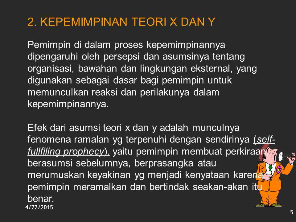 4/22/2015 5 2. KEPEMIMPINAN TEORI X DAN Y Pemimpin di dalam proses kepemimpinannya dipengaruhi oleh persepsi dan asumsinya tentang organisasi, bawahan