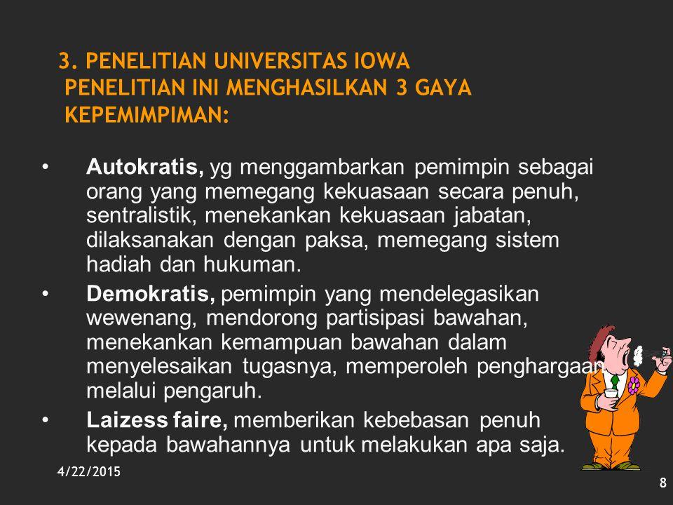 4/22/2015 8 3. PENELITIAN UNIVERSITAS IOWA PENELITIAN INI MENGHASILKAN 3 GAYA KEPEMIMPIMAN: Autokratis, yg menggambarkan pemimpin sebagai orang yang m