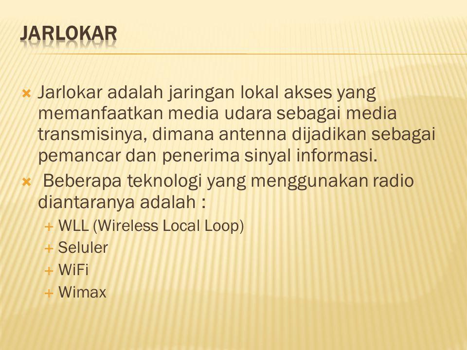  Jarlokar adalah jaringan lokal akses yang memanfaatkan media udara sebagai media transmisinya, dimana antenna dijadikan sebagai pemancar dan penerim