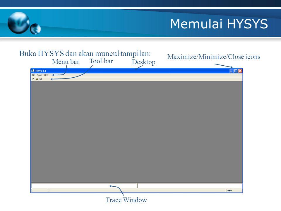 Memulai HYSYS Buka HYSYS dan akan muncul tampilan: Menu bar Tool bar Desktop Maximize/Minimize/Close icons Trace Window