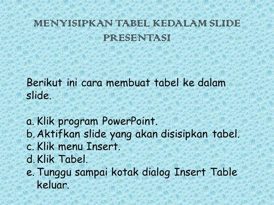 MENYISIPKAN TABEL KEDALAM SLIDE PRESENTASI Berikut ini cara membuat tabel ke dalam slide. a.Klik program PowerPoint. b.Aktifkan slide yang akan disisi