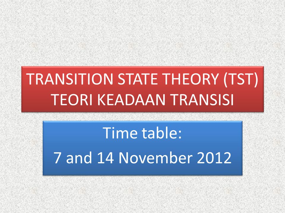 TRANSITION STATE THEORY (TST) TEORI KEADAAN TRANSISI Time table: 7 and 14 November 2012 Time table: 7 and 14 November 2012