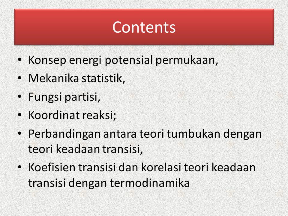Contents Konsep energi potensial permukaan, Mekanika statistik, Fungsi partisi, Koordinat reaksi; Perbandingan antara teori tumbukan dengan teori kead