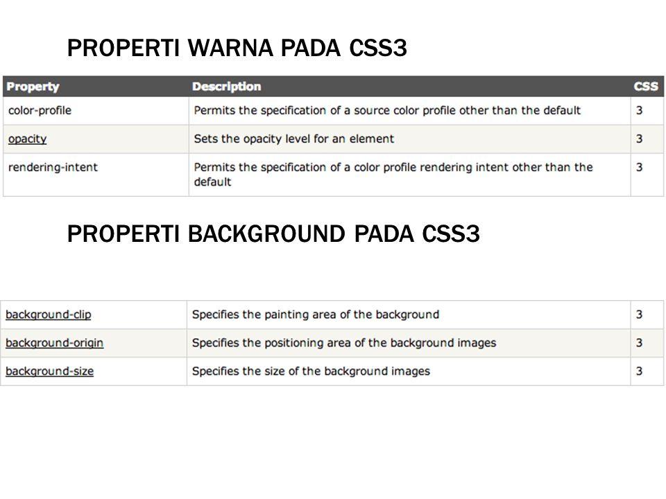 PROPERTI WARNA PADA CSS3 PROPERTI BACKGROUND PADA CSS3