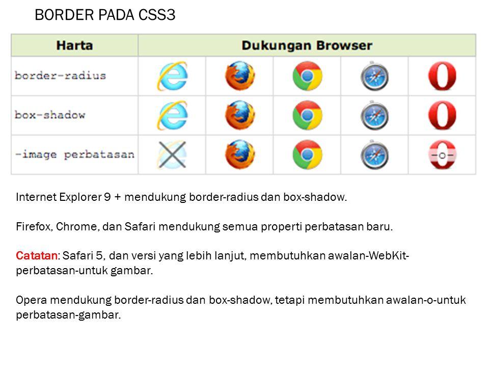 BORDER PADA CSS3 Internet Explorer 9 + mendukung border-radius dan box-shadow. Firefox, Chrome, dan Safari mendukung semua properti perbatasan baru. C