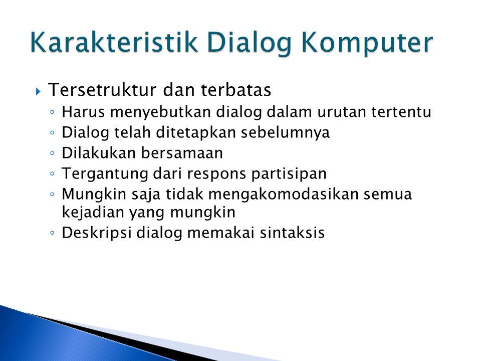  Tersetruktur dan terbatas ◦ Harus menyebutkan dialog dalam urutan tertentu ◦ Dialog telah ditetapkan sebelumnya ◦ Dilakukan bersamaan ◦ Tergantung d
