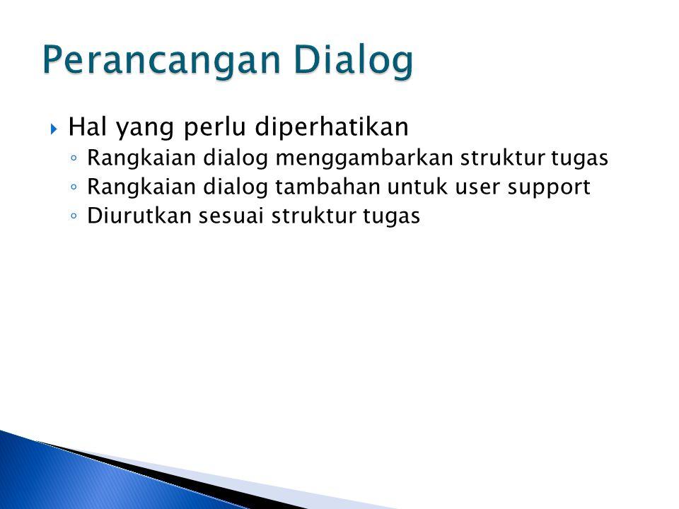  Hal yang perlu diperhatikan ◦ Rangkaian dialog menggambarkan struktur tugas ◦ Rangkaian dialog tambahan untuk user support ◦ Diurutkan sesuai strukt