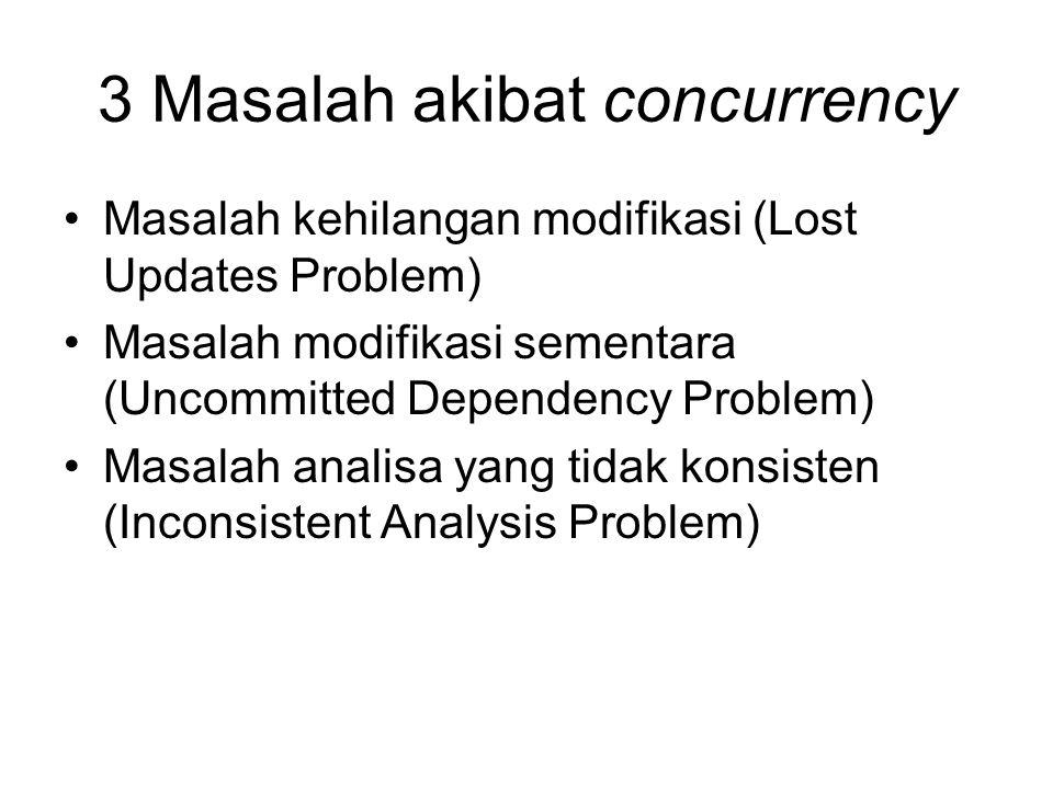 3 Masalah akibat concurrency Masalah kehilangan modifikasi (Lost Updates Problem) Masalah modifikasi sementara (Uncommitted Dependency Problem) Masala