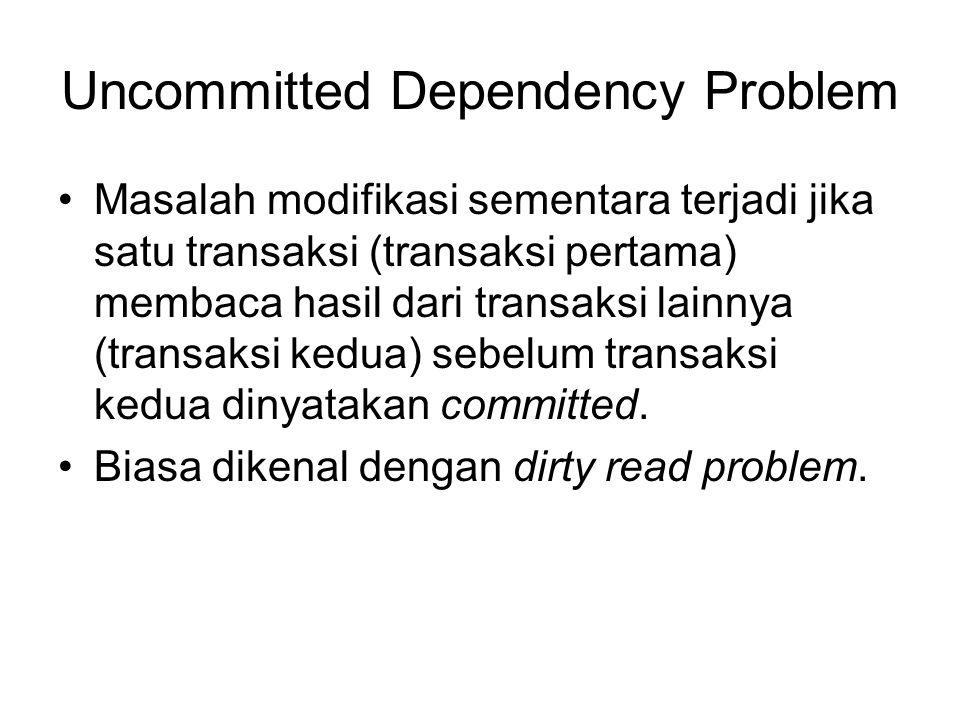 Uncommitted Dependency Problem Masalah modifikasi sementara terjadi jika satu transaksi (transaksi pertama) membaca hasil dari transaksi lainnya (tran