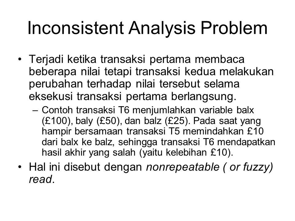 Inconsistent Analysis Problem Terjadi ketika transaksi pertama membaca beberapa nilai tetapi transaksi kedua melakukan perubahan terhadap nilai terseb
