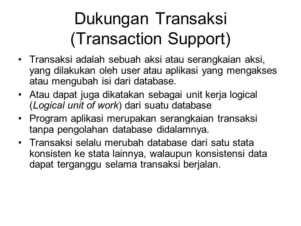 Dukungan Transaksi (Transaction Support) Transaksi adalah sebuah aksi atau serangkaian aksi, yang dilakukan oleh user atau aplikasi yang mengakses ata