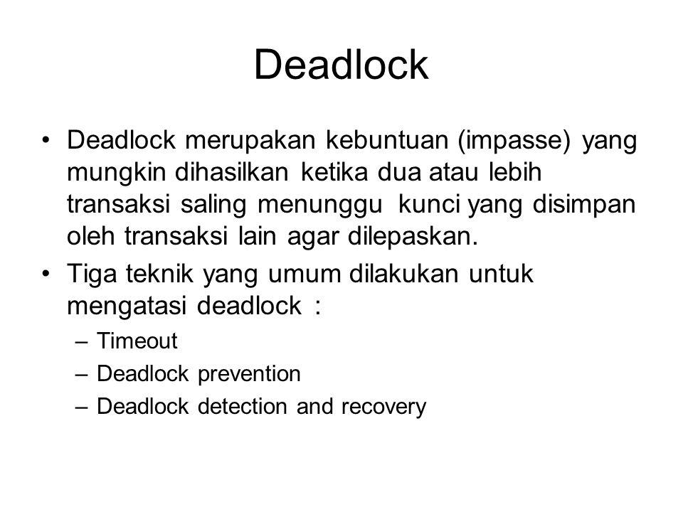 Deadlock Deadlock merupakan kebuntuan (impasse) yang mungkin dihasilkan ketika dua atau lebih transaksi saling menunggu kunci yang disimpan oleh trans