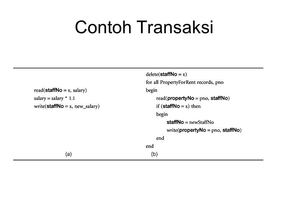 Timestamping - Read(x) Transaksi T membaca item x yang telah diubah oleh transaksi baru (younger), yaitu ts(T) < write_timestamp(x).