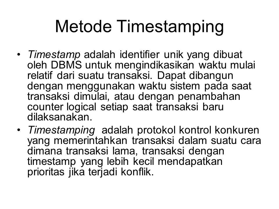 Metode Timestamping Timestamp adalah identifier unik yang dibuat oleh DBMS untuk mengindikasikan waktu mulai relatif dari suatu transaksi. Dapat diban