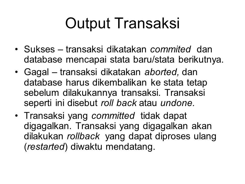 Output Transaksi Sukses – transaksi dikatakan commited dan database mencapai stata baru/stata berikutnya. Gagal – transaksi dikatakan aborted, dan dat