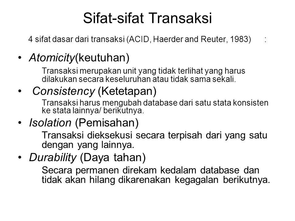 Sifat-sifat Transaksi 4 sifat dasar dari transaksi (ACID, Haerder and Reuter, 1983): Atomicity(keutuhan) Transaksi merupakan unit yang tidak terlihat