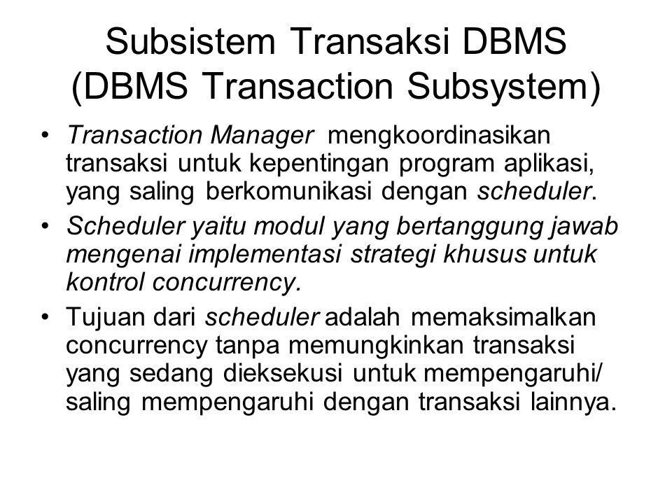 Subsistem Transaksi DBMS (DBMS Transaction Subsystem) Transaction Manager mengkoordinasikan transaksi untuk kepentingan program aplikasi, yang saling
