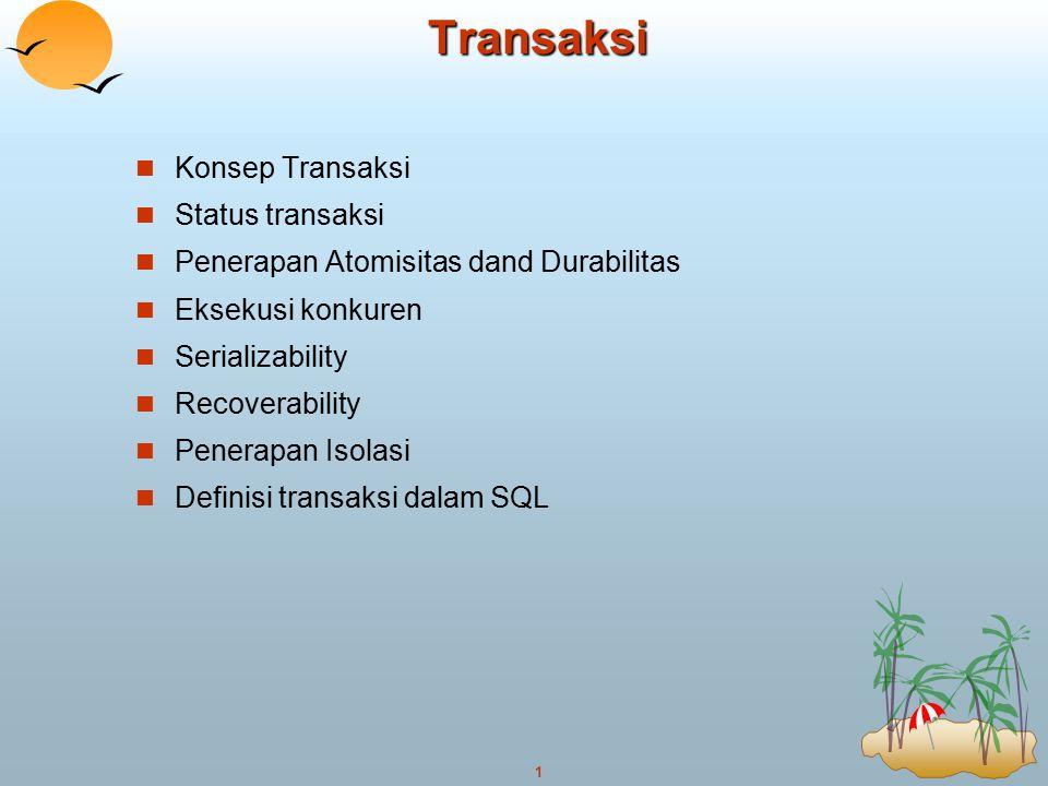 1Transaksi Konsep Transaksi Status transaksi Penerapan Atomisitas dand Durabilitas Eksekusi konkuren Serializability Recoverability Penerapan Isolasi