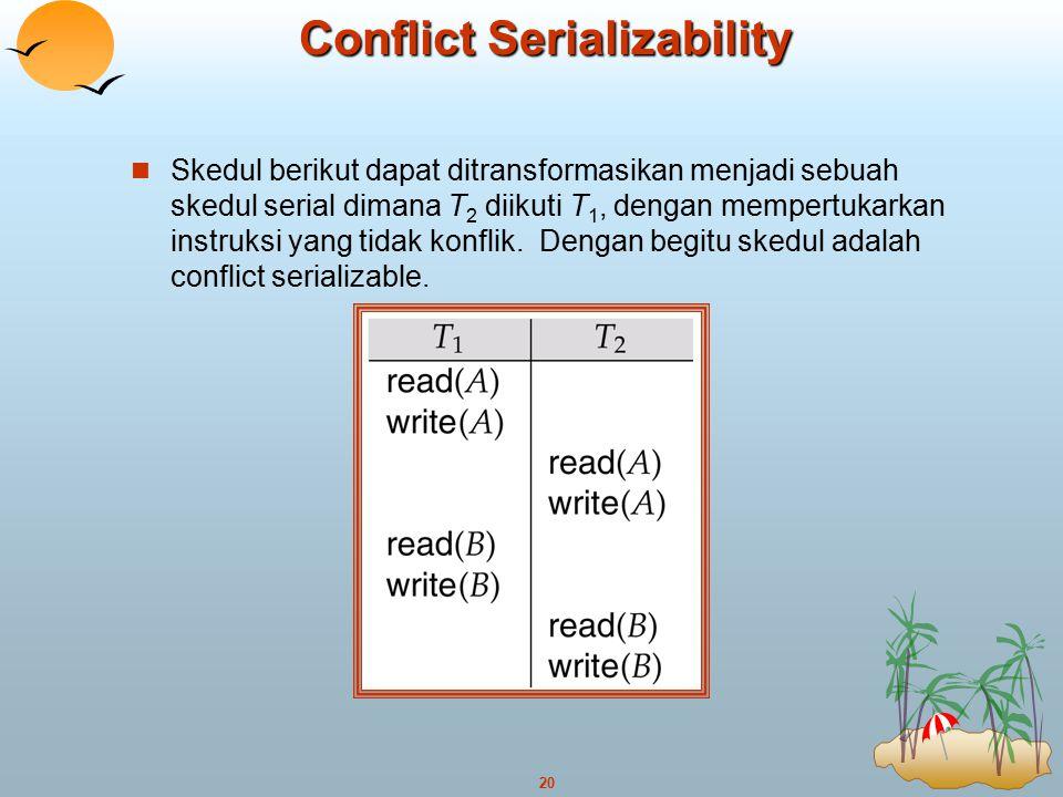 20 Conflict Serializability Skedul berikut dapat ditransformasikan menjadi sebuah skedul serial dimana T 2 diikuti T 1, dengan mempertukarkan instruks