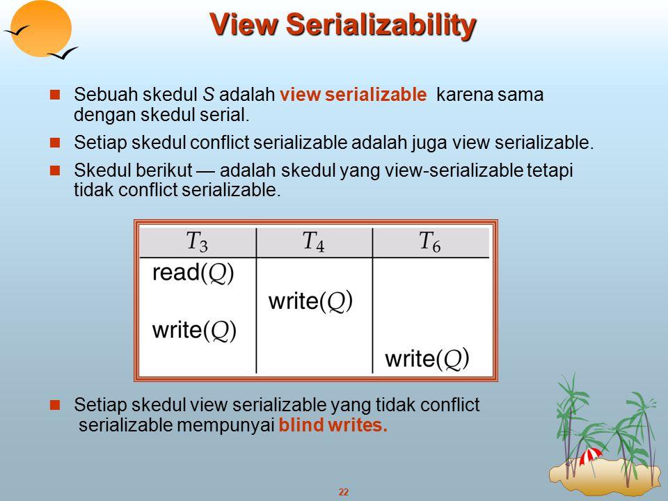 22 View Serializability Sebuah skedul S adalah view serializable karena sama dengan skedul serial. Setiap skedul conflict serializable adalah juga vie