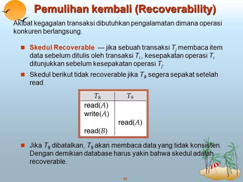 24 Pemulihan kembali (Recoverability) Skedul Recoverable — jika sebuah transaksi T j membaca item data sebelum ditulis oleh transaksi T i, kesepakatan