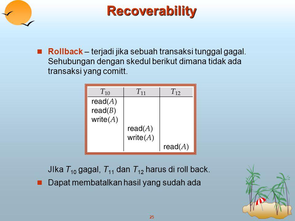 25Recoverability Rollback – terjadi jika sebuah transaksi tunggal gagal. Sehubungan dengan skedul berikut dimana tidak ada transaksi yang comitt. JIka