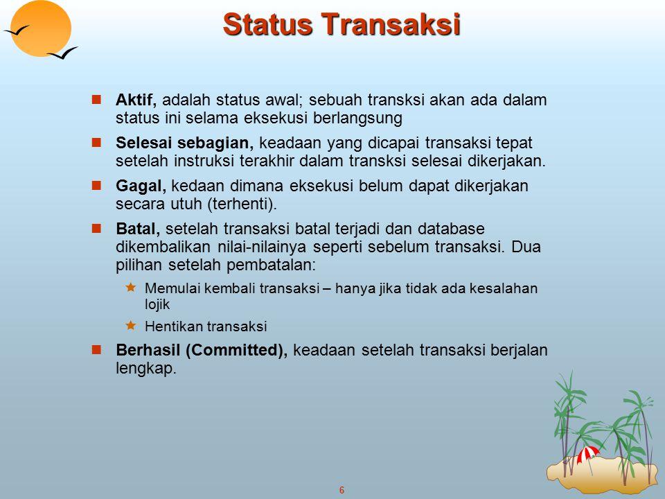 6 Status Transaksi Aktif, adalah status awal; sebuah transksi akan ada dalam status ini selama eksekusi berlangsung Selesai sebagian, keadaan yang dic