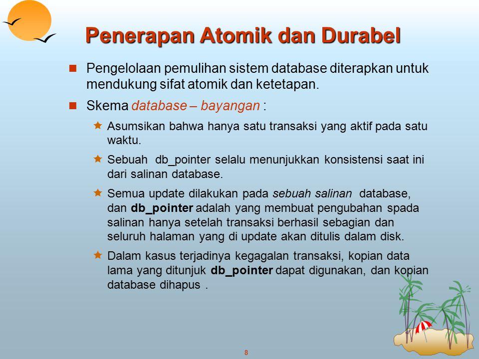 8 Penerapan Atomik dan Durabel Pengelolaan pemulihan sistem database diterapkan untuk mendukung sifat atomik dan ketetapan. Skema database – bayangan