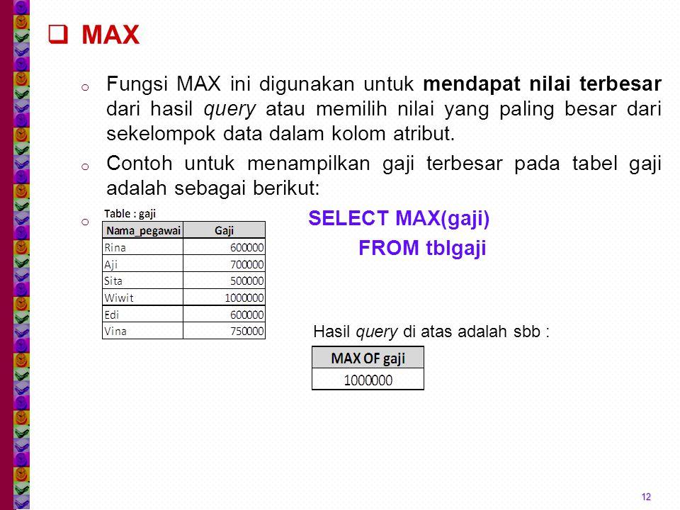  MAX o Fungsi MAX ini digunakan untuk mendapat nilai terbesar dari hasil query atau memilih nilai yang paling besar dari sekelompok data dalam kolom atribut.