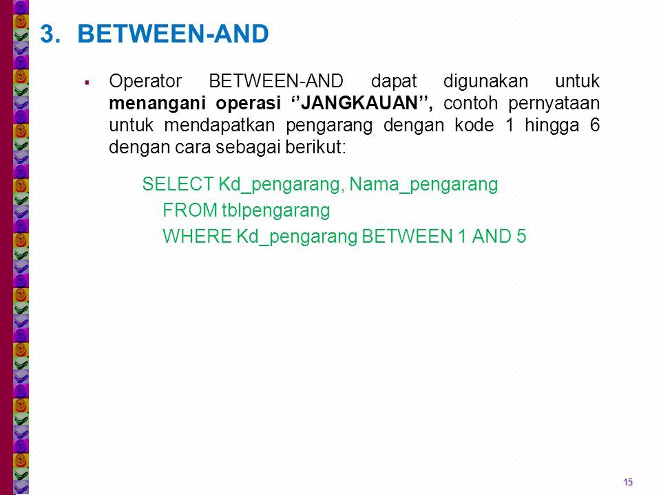 15 3.BETWEEN-AND  Operator BETWEEN-AND dapat digunakan untuk menangani operasi ''JANGKAUAN'', contoh pernyataan untuk mendapatkan pengarang dengan kode 1 hingga 6 dengan cara sebagai berikut: SELECT Kd_pengarang, Nama_pengarang FROM tblpengarang WHERE Kd_pengarang BETWEEN 1 AND 5