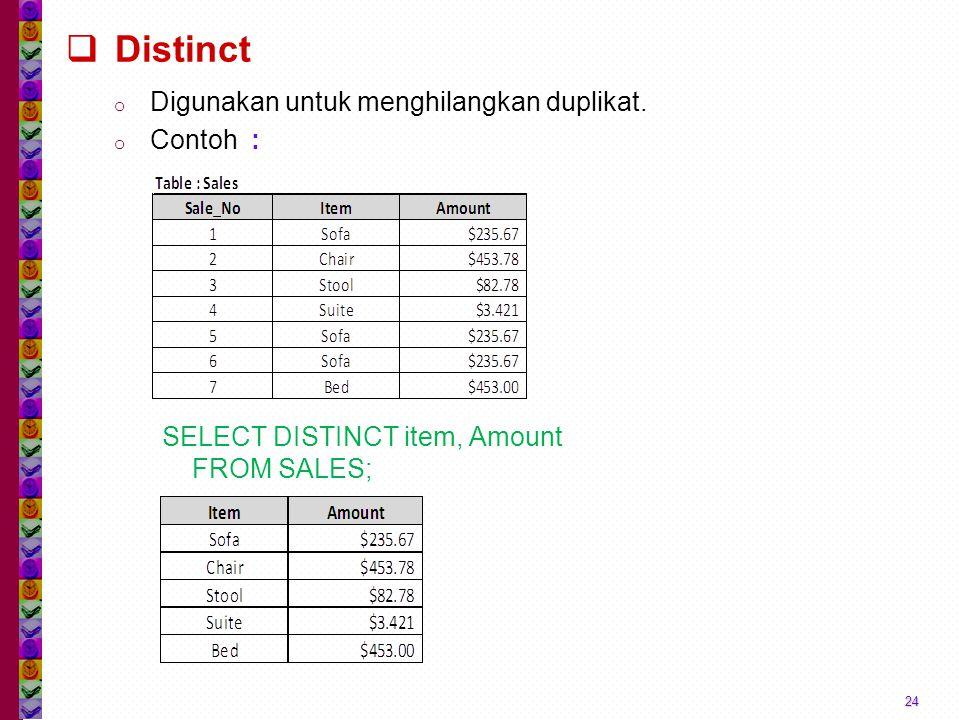  Distinct o Digunakan untuk menghilangkan duplikat. o Contoh : 24 SELECT DISTINCT item, Amount FROM SALES;