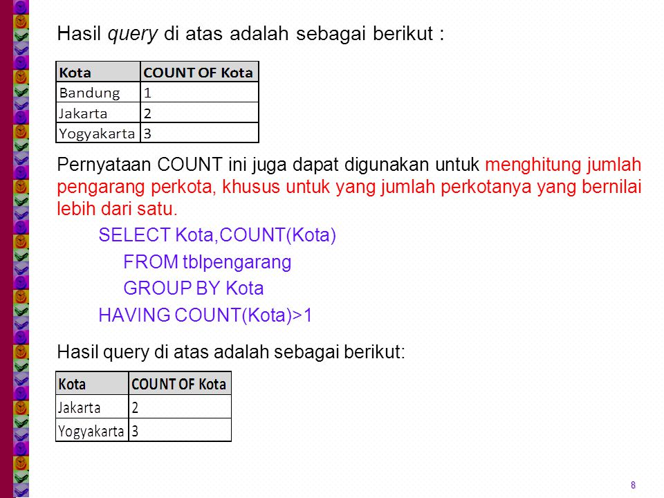 Hasil query di atas adalah sebagai berikut : 8 Pernyataan COUNT ini juga dapat digunakan untuk menghitung jumlah pengarang perkota, khusus untuk yang jumlah perkotanya yang bernilai lebih dari satu.