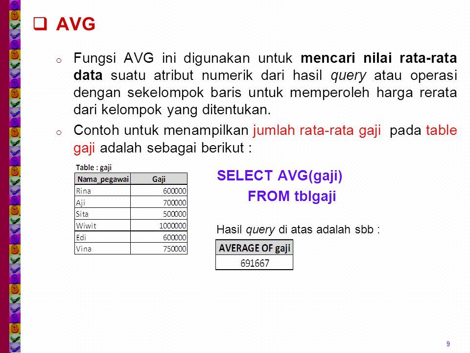  AVG o Fungsi AVG ini digunakan untuk mencari nilai rata-rata data suatu atribut numerik dari hasil query atau operasi dengan sekelompok baris untuk memperoleh harga rerata dari kelompok yang ditentukan.