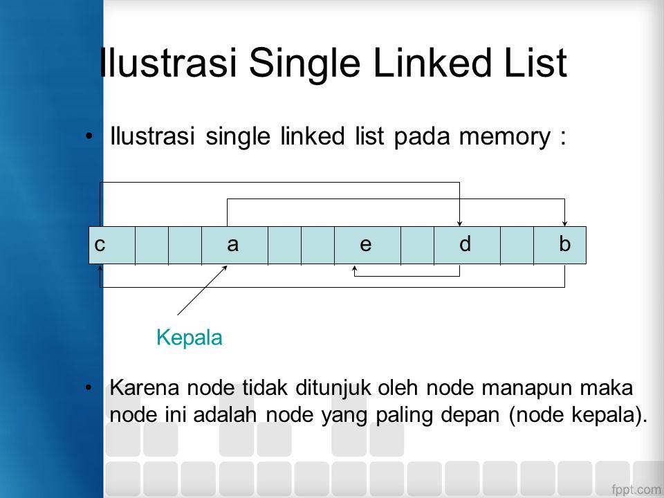 Ilustrasi Single Linked List Ilustrasi single linked list pada memory : Node e tidak menunjuk ke node manapun sehingga pointer dari node e adalah NULL