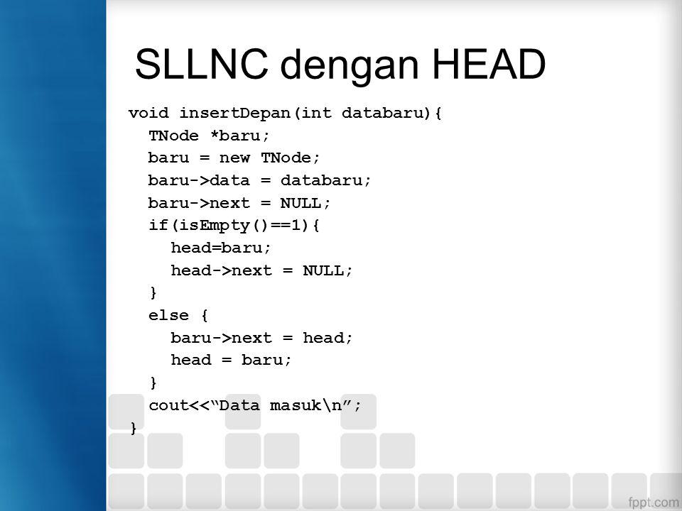 SLLNC dengan HEAD Penambahan data di depan Penambahan node baru akan dikaitan di node paling depan, namun pada saat pertama kali (data masih kosong),